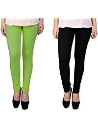 Snoogg Womens Ethnic Chic Inspired Churidar Leggings In Light Green And Black