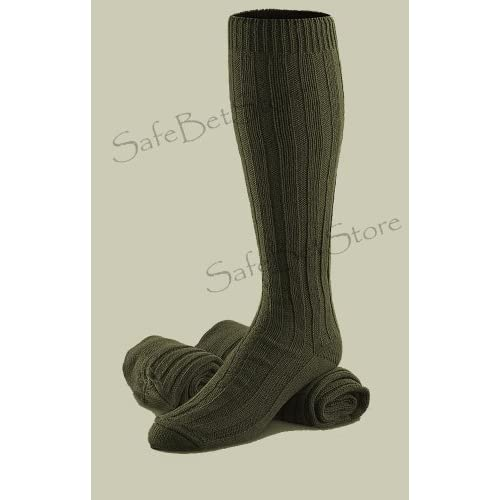 Wool Military Socks High Quality Very Warm Knee High Reenforced Green LOT of 3 *NOS