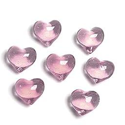 Gemnique Round Decorative Glass Hearts, Large, Pink