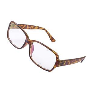 Zebra Print Glasses Frames : Lady Chocolate Color Zebra Print Plastic Frame Lens Plano ...