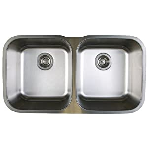 Blanco BL441020 BlancoStellar 8-Inch Equal Double Bowl Sink, Refined Brushed