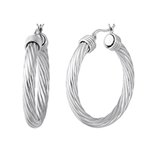 Vir Jewels Sterling Silver Hoop Earrings Twisted Style (1 3/4 Inch) by Vir Jewels