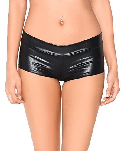 iHeartRaves Metallic Rave Booty Dance Shorts (Medium, Black) (Rave Clothing For Women compare prices)
