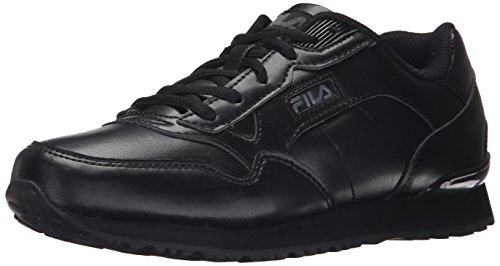 Fila Women's Cress Running Shoe, Black/Castlerock/Metallic Silver, 7 M US
