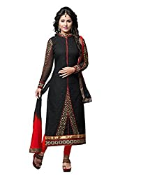 Hina Khan Cambric Cotton Black Embroidred Straight Suit