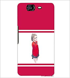 PrintDhaba Cute Girl D-1403 Back Case Cover for MICROMAX A350 CANVAS KNIGHT (Multi-Coloured)