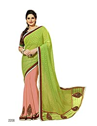 Aarti Latest Fashionable Party Wear Fancy Saree Bridal Embroidery Saree Wedding Wear Free Size - B00XA081OY