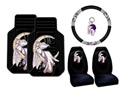 Jessica Galbreth Fairy 6pc Combo Set Front Floor Mats, Seat Covers, Steering Wheel Cover & Keychain Plus Bonus Matching Decal