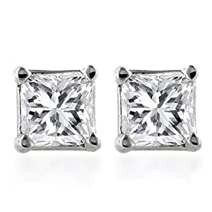 Click to buy 14K White Gold ½ Carat Princess Cut Diamond Stud Earrings from Amazon!