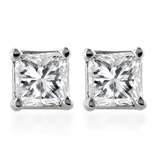 14k White Gold Princess-Cut Diamond Stud Earrings (1/3 cttw, I-J Color, I1-I-2 Clarity)