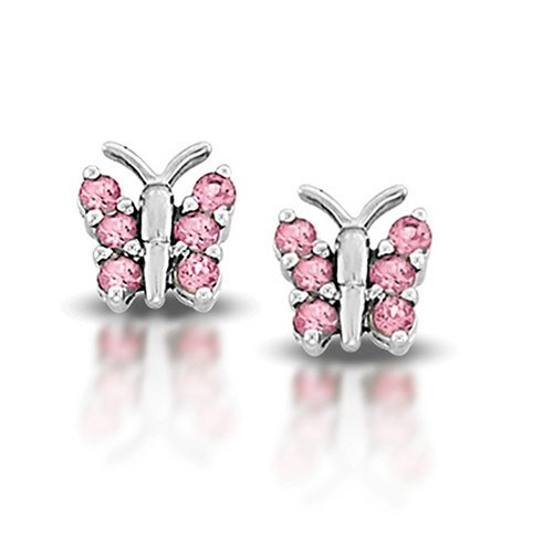 14k White Gold Pink Tourmaline Butterfly Earrings