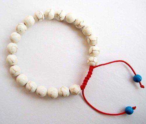Tibetan Buddhist Wrist Mala Bracelet 8mm Howlite Turquosite Stone Beads