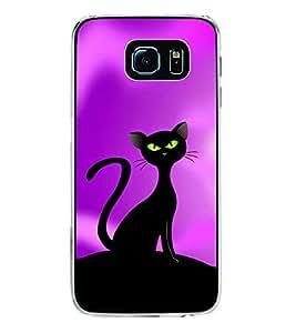 Black Cat 2D Hard Polycarbonate Designer Back Case Cover for Samsung Galaxy S6 Edge :: Samsung Galaxy S6 Edge G925 :: Samsung Galaxy S6 Edge G925I G9250 G925A G925F G925FQ G925K G925L G925S G925T