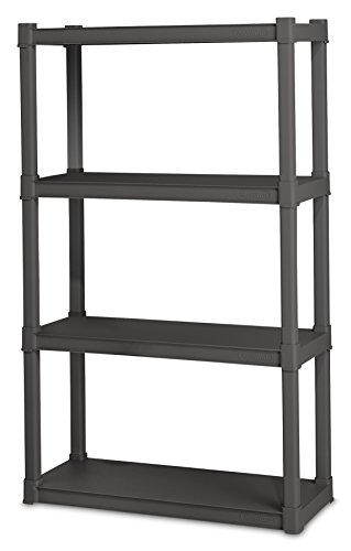 Sterilite 01643V01 4 Shelf Unit, Flat Gray Shelves & Legs, 1-Pack (Shelf Unit Plastic compare prices)