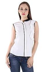 Bonheur Women's Front Frills White Shirt (BH-040-White-S_White_Small)