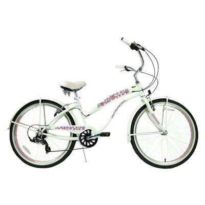 7-Speed Beach Cruiser Frame Color: Pearl White with Pink Wheels (Ladies)