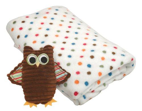 Stephan Baby Cordy Owl Corduroy Rattle and Multi-Dot Fleece Blanket Gift Set, Green/Brown