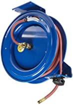 "Big Sale Coxreels Heavy-Duty Self-Retracting Air/Water Hose Reels, 3/8"" Hose ID, 50' Length"