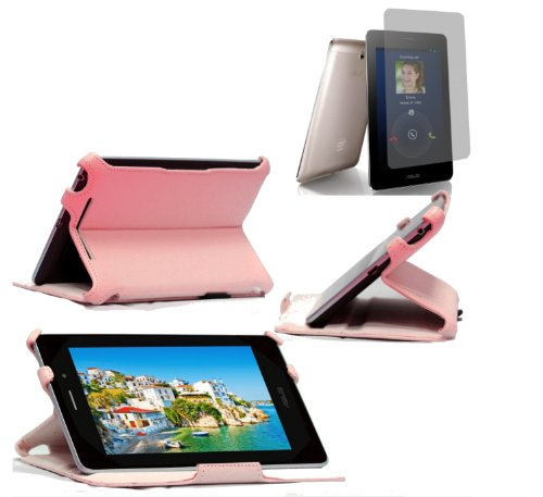 Navitech pinkes Case mit Ständer und Halteschlaufe für das Asus FonePad mit Asus Bildschirm Schutz