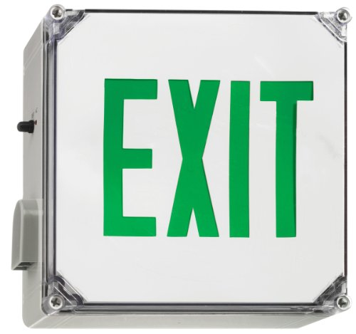 Juno Lighting Group NXWBGGY Wet Location LED Exit Sign with Battery Backup, Green Letter Color