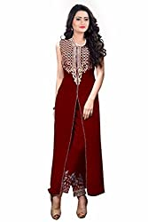 Zeel Fashion Women's Georgette Unstitched Dress Material (zf20_Red_Free Size)