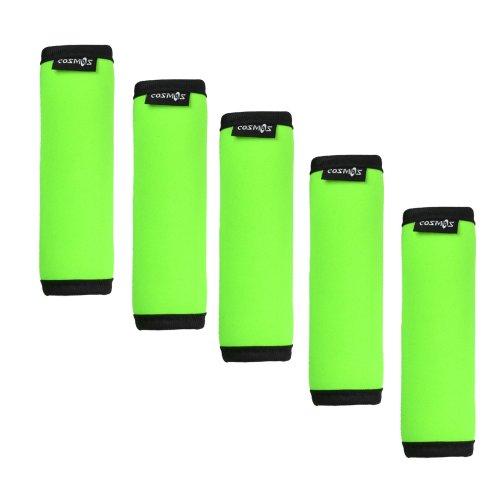 cosmos-r-5-pieces-fluorescence-green-comfort-neoprene-handle-wraps-grip-identifier-for-travel-bag-lu