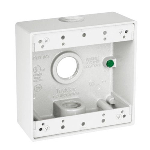 Hubbell Db375Wh 4-1/2-Inch X 4-1/2-Inch Gang 2-Inch Deep Weatherproof Box, 3/4-Inch Outlets, White
