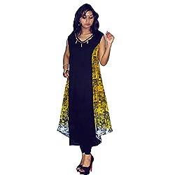 Atulya Women's Embroidered Kurti (ATKSS1503Y_Yellow_Large)