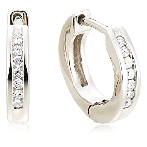 "Sterling Silver Channel-Set Diamond Hoop Earrings (1/10 cttw) (0.4"" Diameter)"