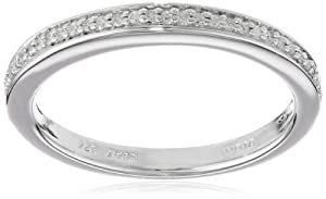 Sterling Silver Pave Diamond Wedding Anniversary Ring (0.05 cttw, I-J Color, I3 Clarity) from Amazon Curated Collection