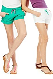 2 Pack Pure Cotton Contrast Drawstring Shorts