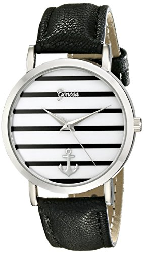Geneva Women's 2431C-GEN Silver-Tone Watch with Synthetic-Leather Band (Watch Geneva Platinum compare prices)