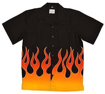 David Carey Men S Flames Camp Shirt At Amazon Men S