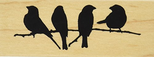 "Inkadinkado Mounted Rubber Stamp DD-Branch With Birds 1.5""X4"""