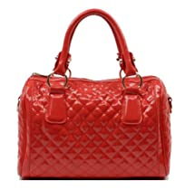 Hot Sale Scarleton Quilted Patent Faux Leather Satchel H106411- Watermelon