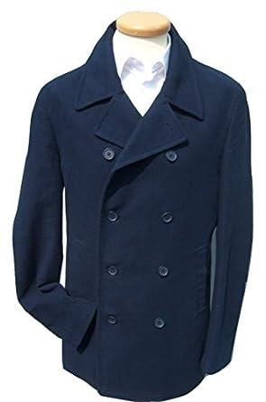 """Mens Navy Blue Reefer Pea Pure Cotton Moleskin Coat Jacket Coats S M L XL XXL (Large fits 42"""" Chest)"""