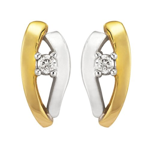 0.045 Carat Diamond Stud Earrings in 9ct 2-Colour Gold
