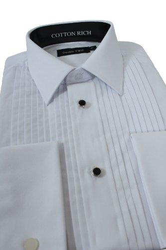 Stitch Pleat Dress Shirt 21inch Neck, White