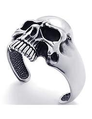 Konov Jewellery Vintage Skull Stainless Steel Biker Mens Bangle Cuff Bracelet, Colour Silver Black (with Gift...