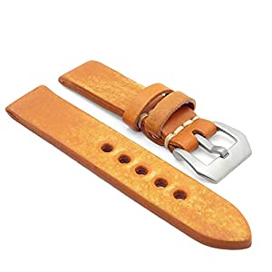 StrapsCo 20mm Tan Extra Thick Antique Vintage Leather Watch Band w/ Pre-V Buckle