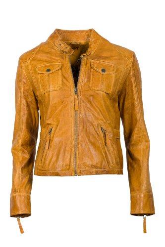 GIPSY Damen klasse Lederjacke aus pflanzlich gegerbtem Lammleder, Farbe curry - tolle Bikerform