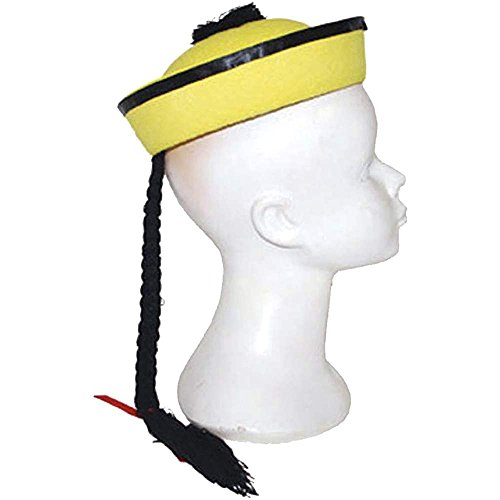 Yellow Chinese Hat with Braid - One Size