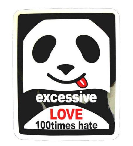 コトワザステッカー/パンダ《可愛さ余って憎さ百倍/excessive LIVE 100times hate》防水加工