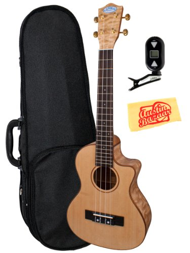 Lanikai Lqa-Tca Quilted Ash Cutaway Acoustic-Electric Tenor Ukulele Bundle With Polyfoam Case, Tuner, And Polishing Cloth