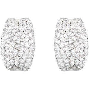 14k White Gold Rough Diamond Earrings 9/10ct - JewelryWeb