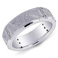14K White Gold Fancy Design Men's Diamond Band Ring