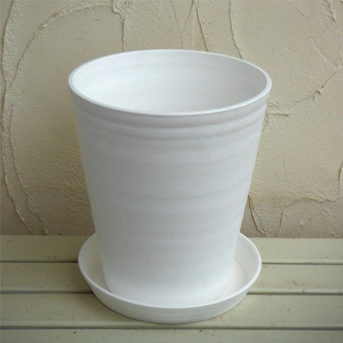 セラアート長鉢尺10号(白)L 鉢と受け皿のセット
