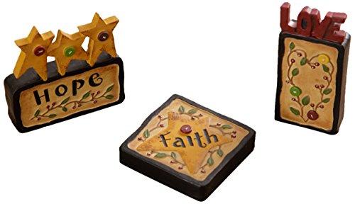 Your Hearts Delight Faith Hope Love Word Blocks Decor, 3-1/4-Inch