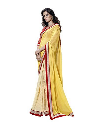 Lovely Look Latest collection of Sarees in Chiffon & Jacquard Fabric & in attractive Yellow Color