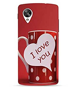 Make My Print Love & Kiss Printed Red Hard Back Cover For LG Google Nexus 5X